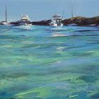Greg Baker - 'Weekend Flotilla, Parker Point (Study)' - (Oil on board 20.5x37cm)