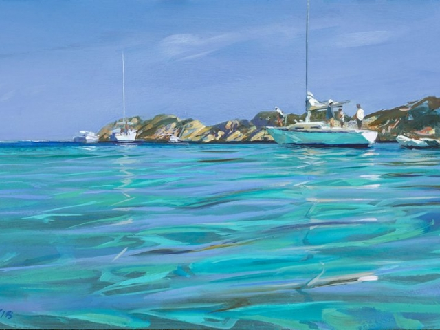 Greg Baker - Weekend Sailors - (Oil on board, 31x56cm)