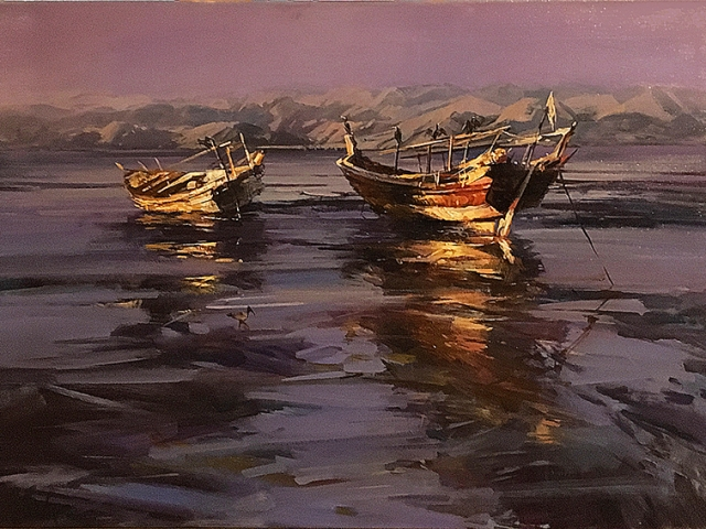 Greg Baker - Dhows of Sur, Oman - oil on canvas - 86 x 120 cms