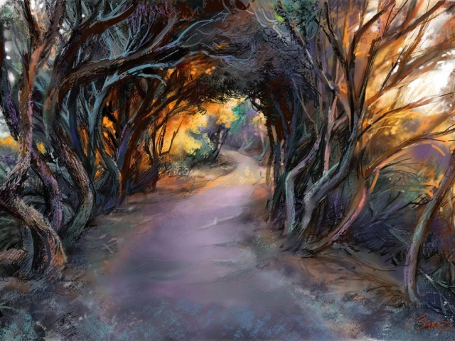 Greg Baker - The Walk to Coogee Beach - iPad original - 45 x 60 cms