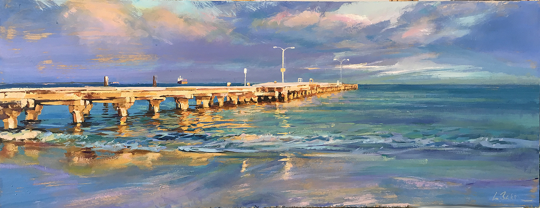 Greg Baker - First Light on Woodman Point Jetty (oil on board, 35 x 60 cms)