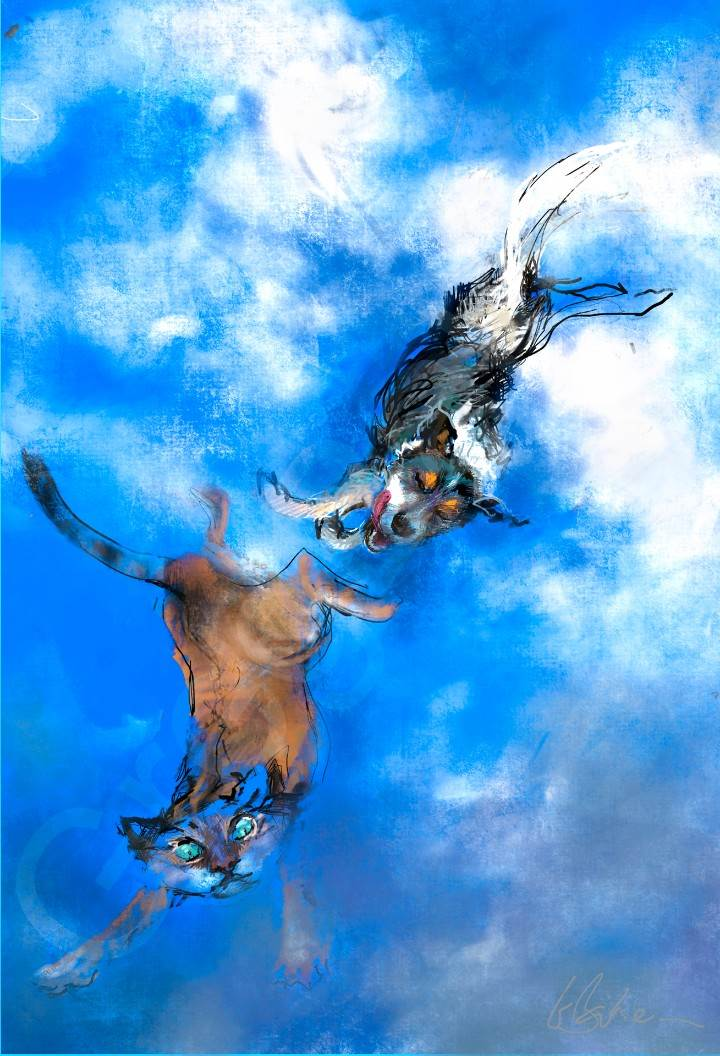 Freefall (study) - iPad Pro painting on canvas - 60 x 88 cms - SOLD
