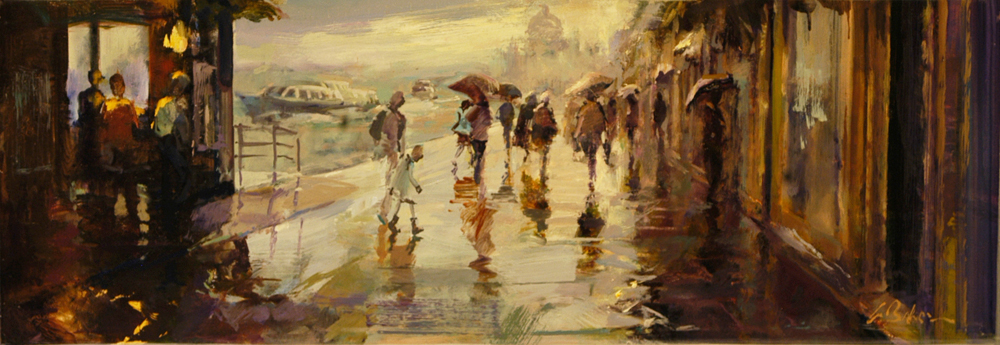 Peak Hour Clamour at Palanca Stop, Giudecca - oil on canvas - 30 x 90 cm - SOLD