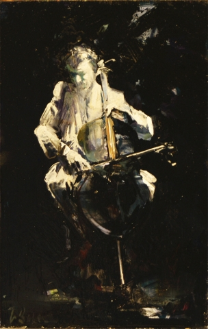 Blue Cello (study) - oil on board - 31 x 20 cm - SOLD