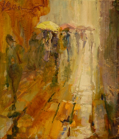 Bevy of Brollies, San Marco - oil on board - 33 x 29 cm - SOLD