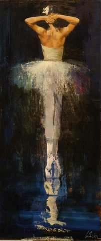 La Prima Danseuse - oil on board - 98 x 37 cm - SOLD