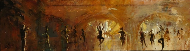 Light in the Big Hall - oil on board - 15 x 56 cm - SOLD