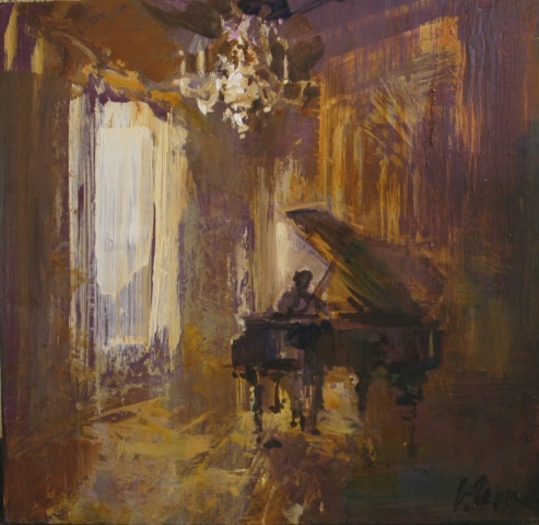 Afternoon Recital - oil on board - 35 x 36 cm - SOLD