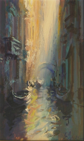 Blue Corridor - oil on board - 40 x 25 cm - SOLD