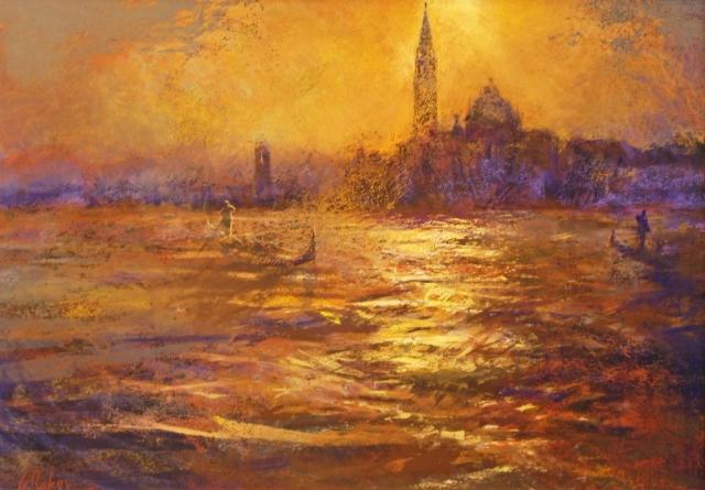 Enshrouded Gondolier - pastel on board - 70 x 100 cm - SOLD