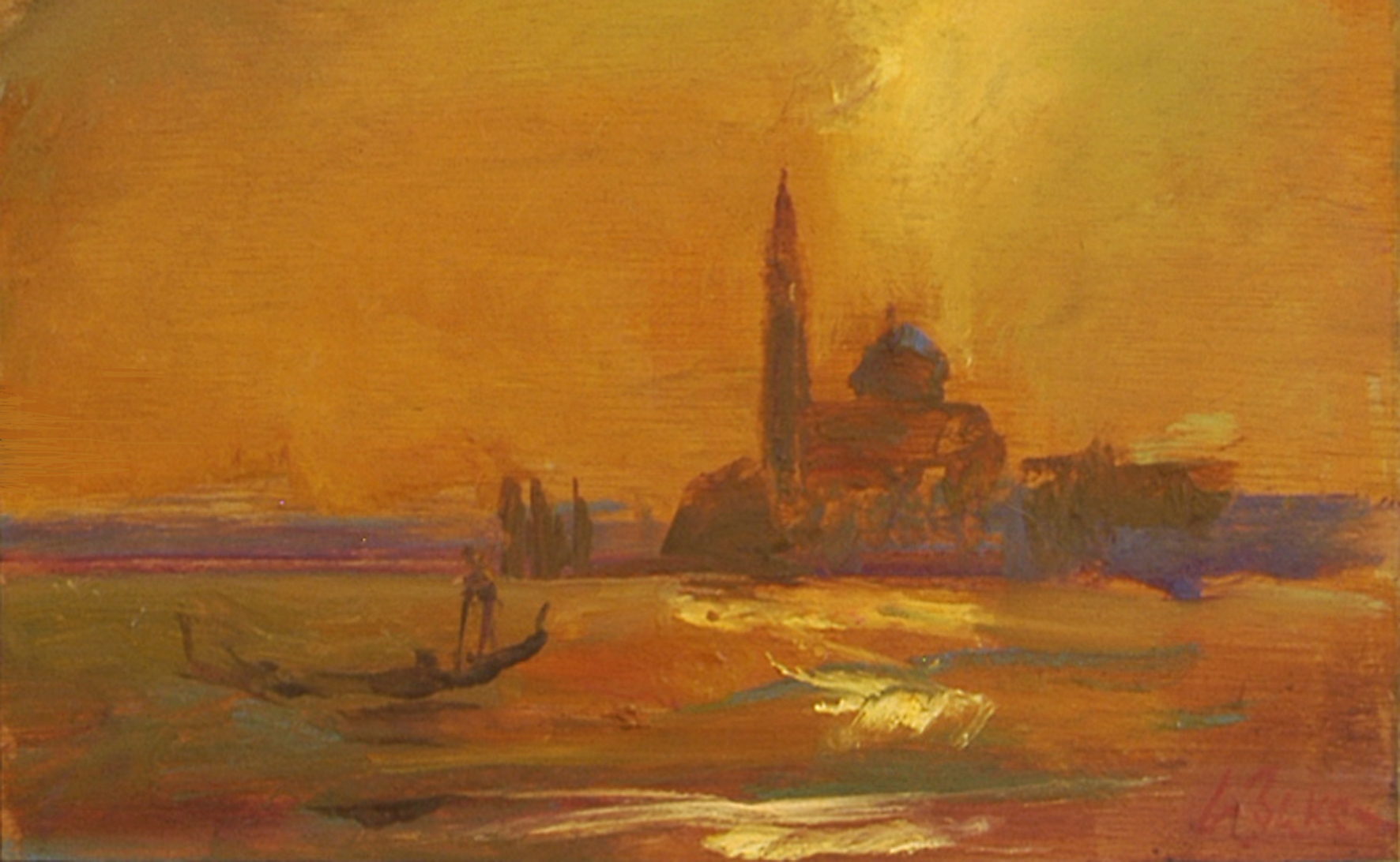 Enshrouded Gondolier (Sketch) - oil on board - 20 x 32 cm - SOLD