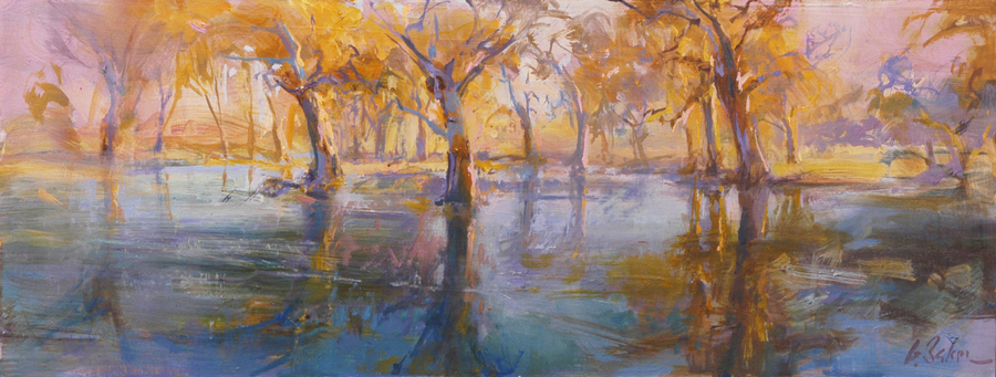 Kens Lake, Krongart South Australia - oil on board - 22 x 64cm - SOLD
