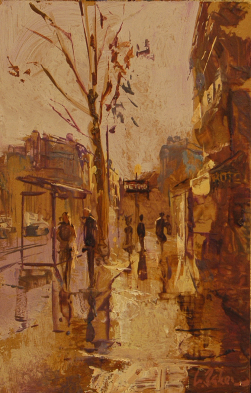 Le Metro Mutual Militaire - oil on board - 31 x 20 cm - SOLD