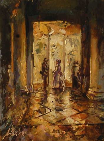 Meeting a Lady of San Marco - oil on board - 21 x 16 cm - SOLD