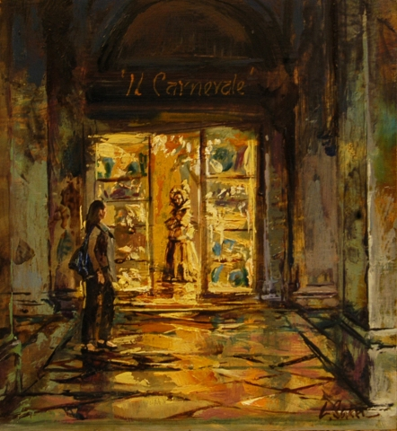 Passing the Carnevale Shop - oil on board - 28 x 26 cm - SOLD