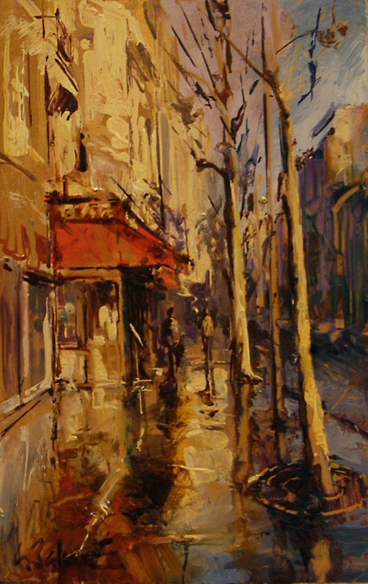 Red Awning on Rue du Lyon - oil on board - 31 x 20 cm - SOLD