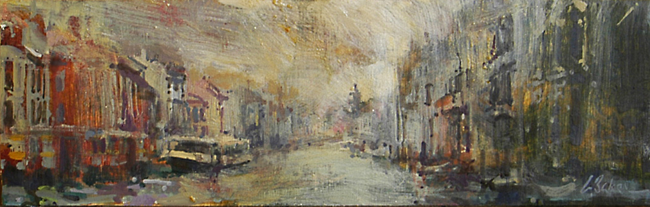 Riding the Vaporetto on a Rainy Day - oil on board - 15 x 45 cm - SOLD