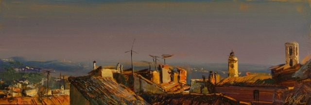 View From My Window, Grasse - oil on board - 16 x 47 cm - SOLD