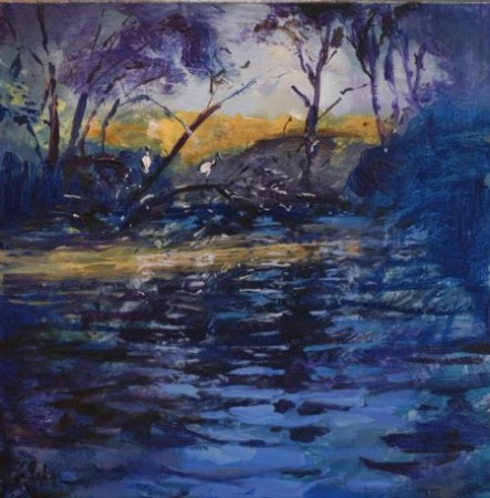 The Zephyr, Garvey Park - oil on canvas - 40 cm sq - SOLD