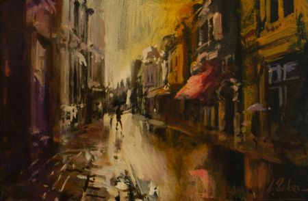 Some Colour on King Street - oil on board - 25 x 38 cm - SOLD