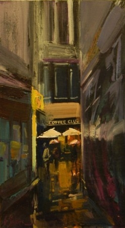 The Coffee Club - oil on board - 40 x 23 cm - SOLD