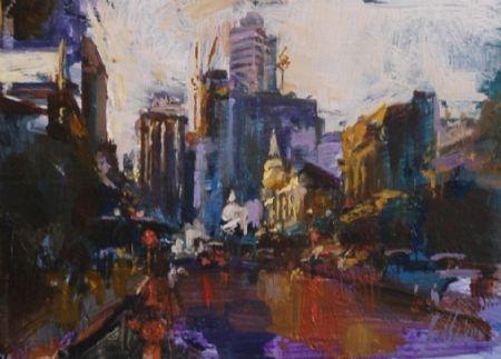 On a Dark Street, Northbridge (study)  - oil on board - 18 x 25 cm - SOLD