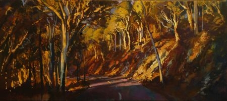 Fingers of Light on Lascelles Parade - oil on canvas - 40 x 91 cm - SOLD