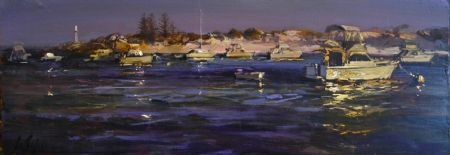 Casting a Line, Longreach - oil on board - 30 x 90 cm - SOLD