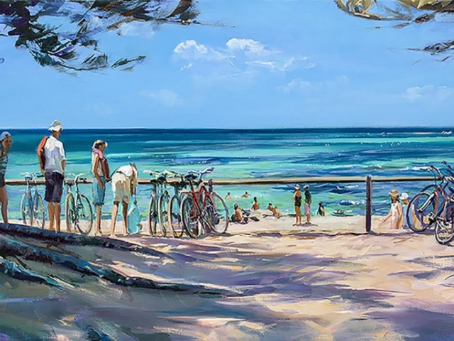 Greg Baker - 'Bikes at the Basin 2' - (Oil on canvas, 60x120cm)