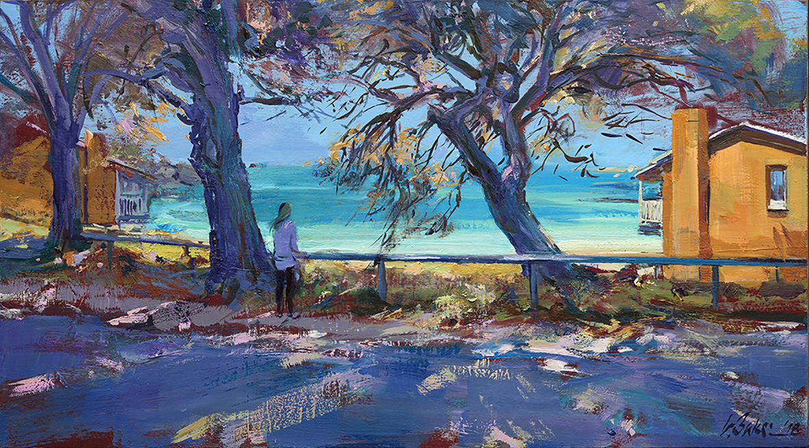 Greg Baker - 'The Morning Easterly, Vincent Way' - (oil on board, 31x56cm)