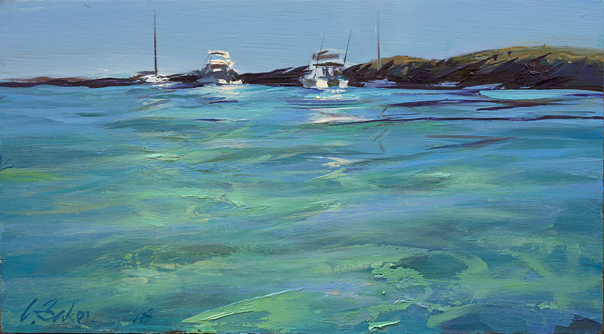 Greg Baker - 'Weekend Flotilla, Parker Point (Study) - (oil on board, 20.5x37cm)