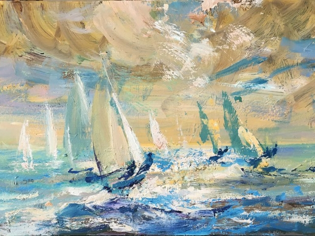 Greg Baker - 505`s off Coogee (oil on board, 21 x 36 cms) - SOLD