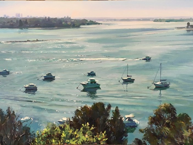 Greg Baker - Coming and Going, Mosman (oil on board,  47 x 91cms) SOLD