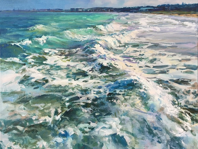 Greg Baker - Coogee, Between Jetties (oil on canvas, 41 x 51 cms) - SOLD