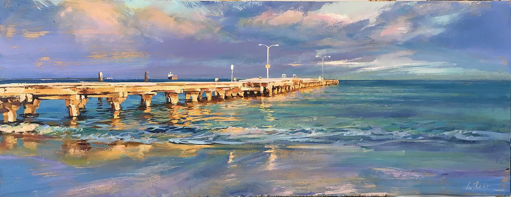 Greg Baker - First Light on Woodman Point Jetty (oil on board, 35 x 60 cms)