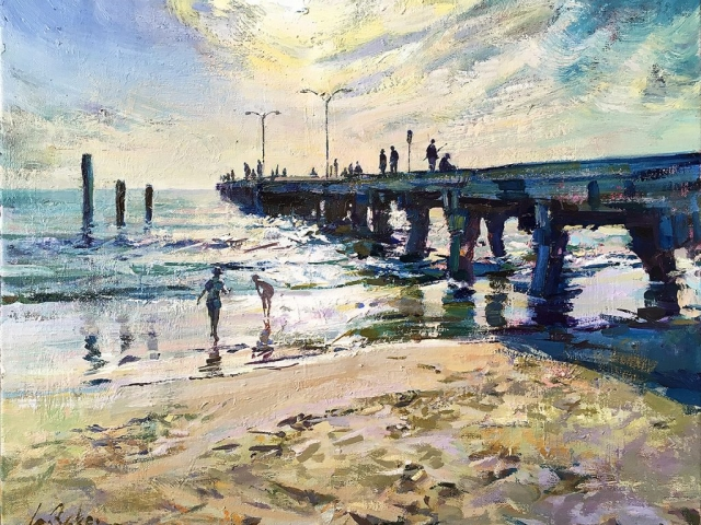 Greg Baker - Hot August Day, Woodman Point (oil on canvas, 41 x 51 cms) - SOLD
