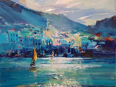 Greg Baker - Little Blue Cadaques (oil on board, 30cms sq)