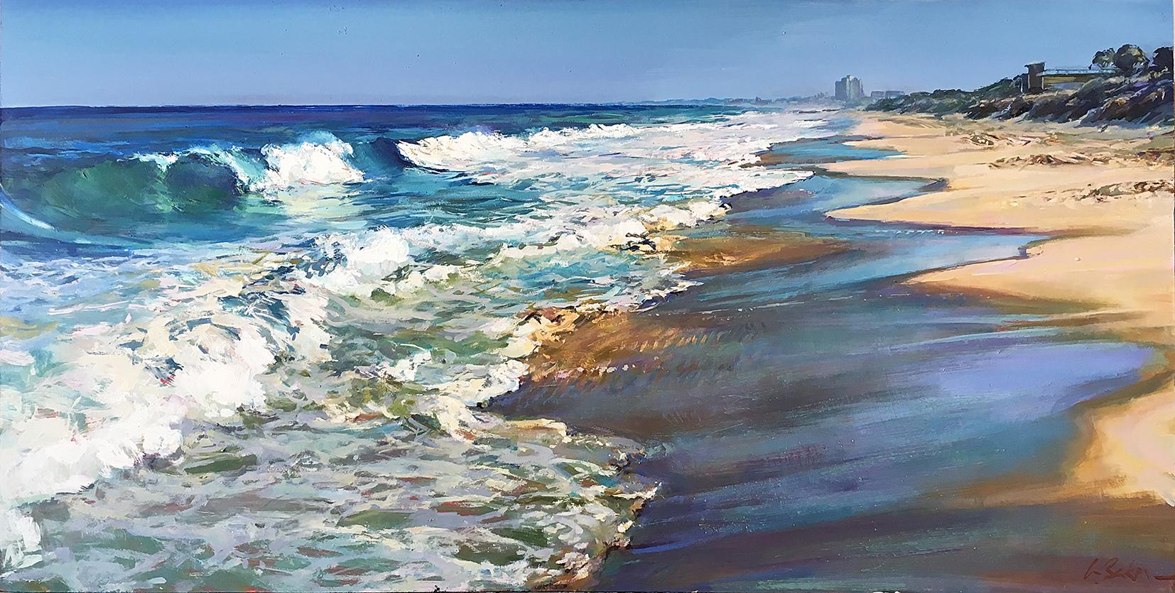 Greg Baker - Walking in the Wash, Floreat (oil on board,  51 x 101 cms)