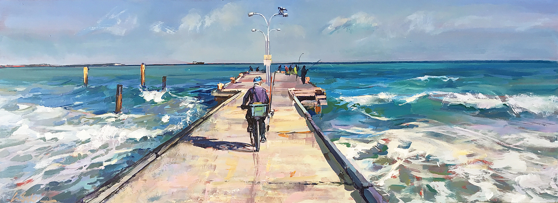 Greg Baker - When the Herring are running, Woodman Point. ( oil on board, 37 x 101 cms )