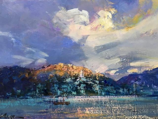Greg Baker - Sketch - Last Kiss of Sun, Cadaques (oil on board, 30 x 42 cms )