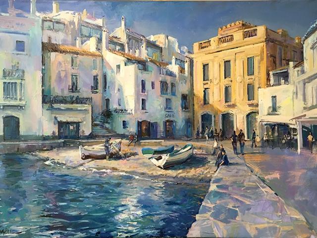 Greg Baker - By the Little Beach, Cadaques (oil on canvas, 84 x 123 cms )