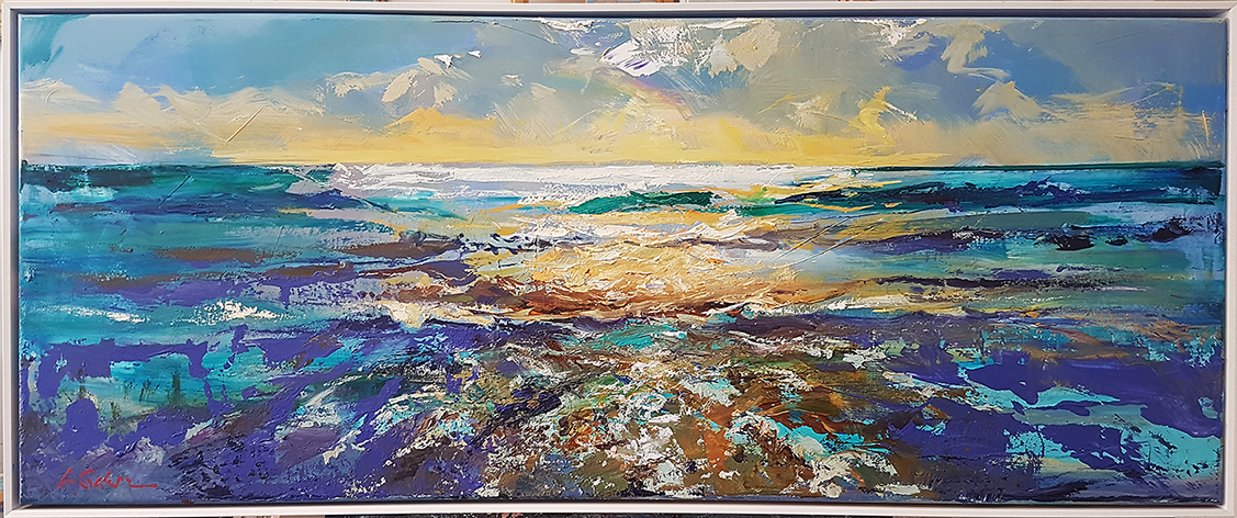 Greg Baker - Just me and the Sea (oil on canvas 52 x 127cm)