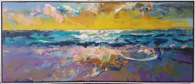 Greg Baker - Just Me and the Sea II (oil on canvas 51 x 127cm)
