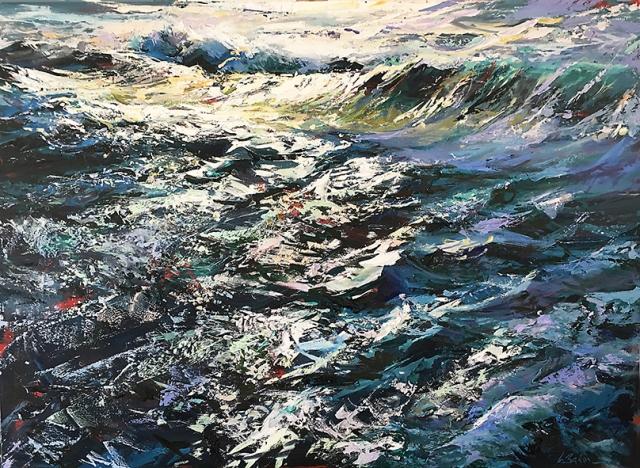 Greg Baker - Wake of the Wave II - Woodman Point (oil on board 87 x 118cm)