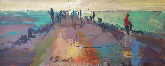 Greg Baker - Life on the 'Ammo' Jetty - study (oil on board 50 x 128cm)