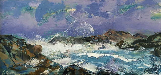Greg Baker - Canal Rocks - Thunder Alley sketch (oil on board 22 x 47cm) SOLD