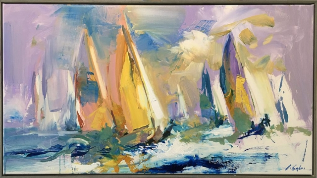 Greg Baker - The Rush, off Coogee - sketch (oil on canvas 50 x 95cm)
