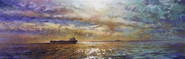 Greg Baker - Rottnest Cresting the Horizon - view from my easel (pastel on board 35 x 102cm) SOLD