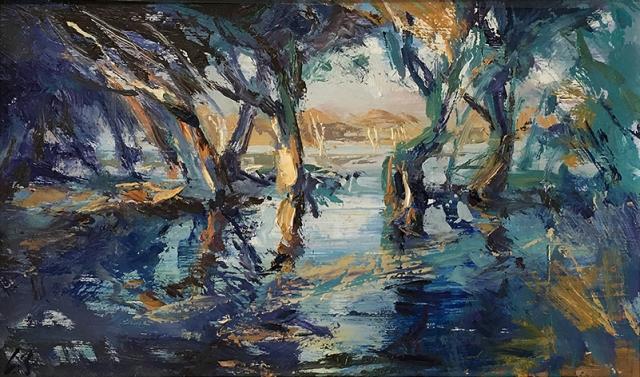 Greg Baker - Study II for the Light Garden - en plein air (oil on board 22 x 36cm) SOLD