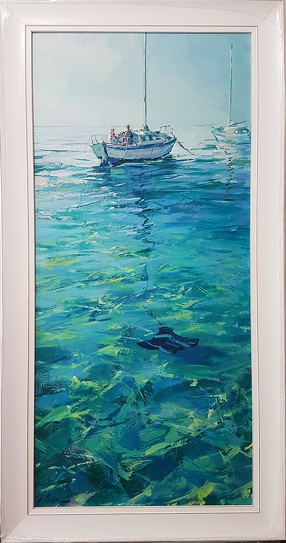 Greg Baker -  Low Flight - off Parker Point, Rottnest (oil on board 110 x 50cm) SOLD